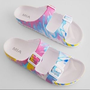 Mia Jazmin Dual Buckle Waterproof Slides, W 7